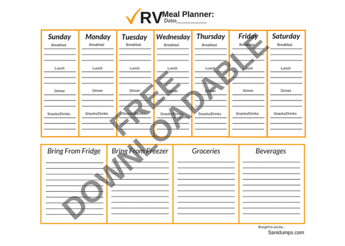 rv meal planner